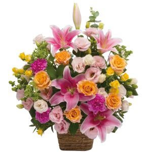 Large arrangement of multicolored flowers
